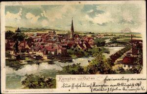Litho Kempten im Allgäu Schwaben, Flusspartie mit Blick auf die Stadt