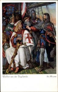 Künstler Ak Ille, Ed., Sage, Walther von der Vogelweide, Ritter, Schwert, Minnesänger