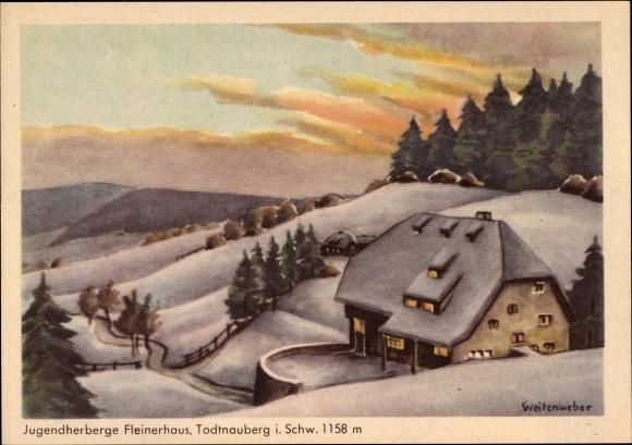 Künstler Ak Weitenweber, Todtnau im Südschwarzwald Kreis Lörrach, Jugendherberge Fleinerhaus, Winter