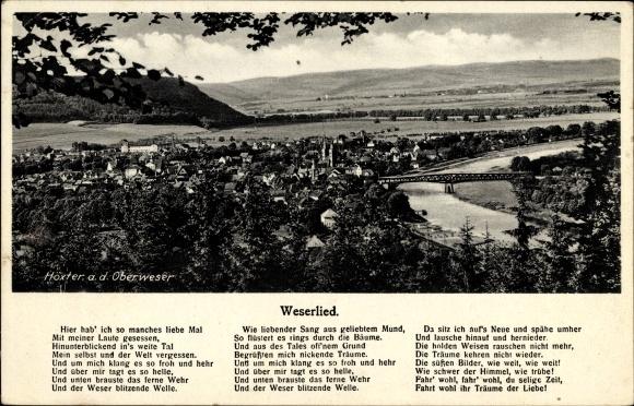 Lied Ak Höxter in Nordrhein Westfalen, Weserlied, Ortschaft mit Landschaftsblick