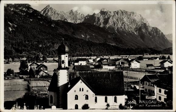 Ak Wallgau Oberbayern, Blick über die Dächer des Ortes, Kirche, Karwendel