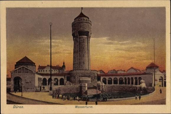 Ak Düren in Nordrhein Westfalen, Ansicht vom Wasserturm