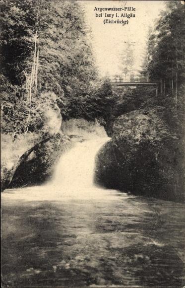 Ak Isny im Allgäu Baden Württemberg, Argenwasserfälle, Eisbrücke