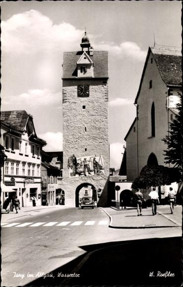 Ak Isny im Allgäu Baden Württemberg, Wassertor, Straßenpartie