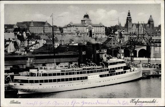 Ak Szczecin Stettin Pommern, Hafenansicht, Dampfschiff, Teilansicht der Stadt