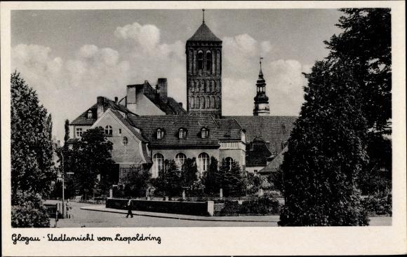Ak Głogów Glogau Schlesien, Stadtansicht vom Leopoldring