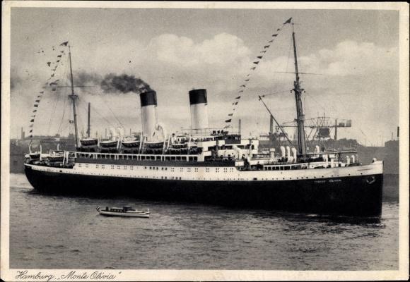 Ak Hamburg, Dampfschiff Monte Olivia, HSDG, Hafen