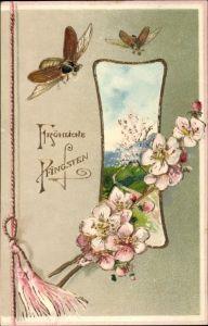 Präge Litho Glückwunsch Pfingsten, Fliegende Maikäfer, Blütenzweig