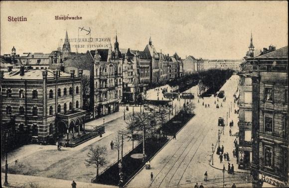 Ak Szczecin Stettin Pommern, Hauptwache, Straßenpartie