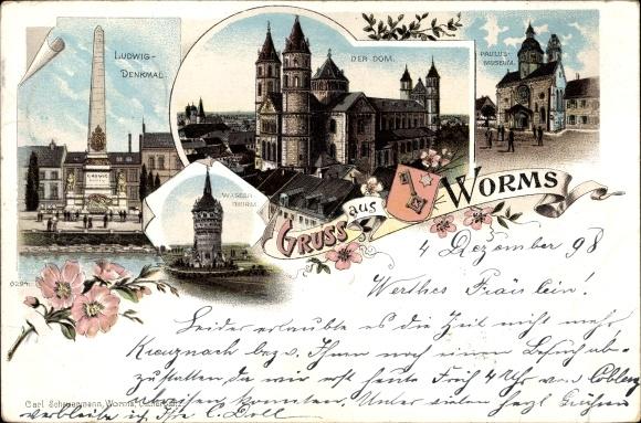 Litho Worms in Rheinland Pfalz, Ludwigdenkmal, Dom, Paulusmuseum, Wasserturm