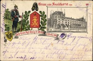 Wappen Litho Frankfurt an der Oder, Lieb. Gren. Rgt. König. Fr. Wilh. III. 1. Brdb. Nr 8, Soldat