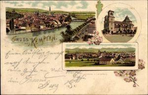 Litho Kempten im Allgäu Schwaben, Flusspartie mit Blick auf die Stadt, Katholische Kirche