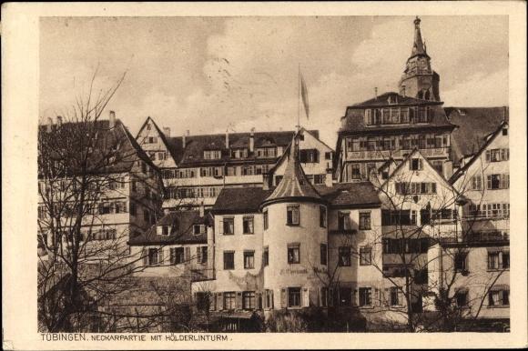 Ak Tübingen am Neckar Baden Württemberg, Partie am Neckar mit Hölderlinturm