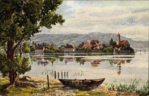 Künstler Ak Marschall, J., Wasserburg am Bodensee Schwaben, Boot, Kirche