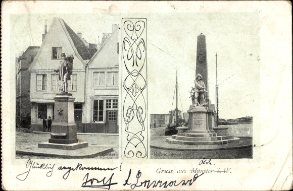 Ak Münster in Westfalen, Kiepenkerl und Hafendenkmal