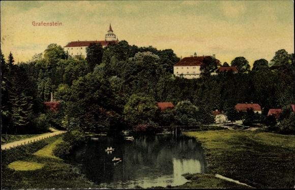 Ak Grabštejn Grafenstein Chotyně Ketten Reg. Reichenberg, Blick auf das Schloss