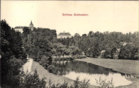 Ak Grabštejn Grafenstein Chotyně Ketten Reg. Reichenberg, Blick zum Schloss, Teich