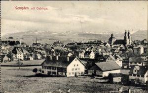 Ak Kempten im Allgäu Schwaben, Panoramablick auf die Stadt mit Gebirge