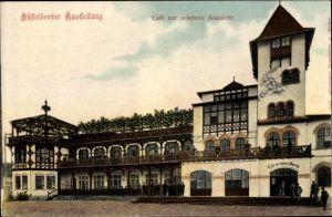 Ak Düsseldorf am Rhein, Cafe zur schönen Aussicht, Industrie- und Gewerbeausstellung 1902