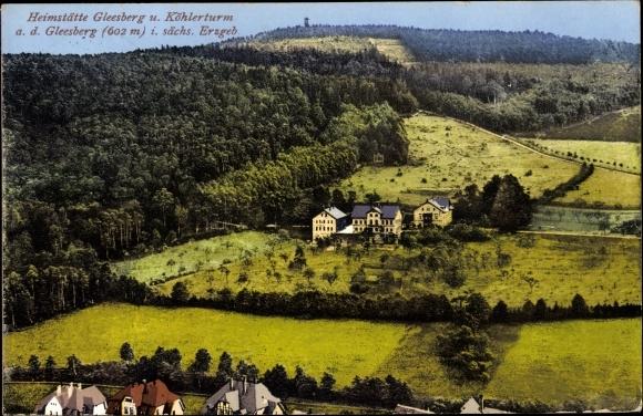 Ak Schneeberg im Erzgebirge, Blick auf Heimstätte Gleesberg und Köhlerturm