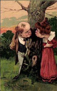 Präge Litho Was sich liebt will sich auch necken, Küssen um Ecken, Liebespaar, Jugendübermut