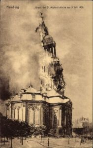 Ak Hamburg Mitte Altstadt, Brand der St. Michaeliskirche am 3 Juli 1906