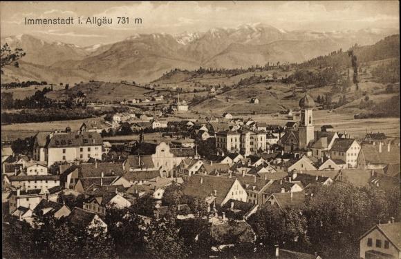 Ak Immenstadt im Allgäu Schwaben, Blick auf Ortschaft und Umgebung