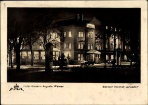Ak Weimar in Thüringen, Hotel Kaiserin Augusta, Bes. Heinrich Langsdorf, Nachtaufnahme