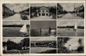 Ak Neusiedel am See Burgenland, Segelboote, Straßenpartie, Ruine, Strandbad
