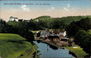 Ak Rudolstadt in Thüringen, Schloss Burgk an der Saale, Blick vom Jägersteig