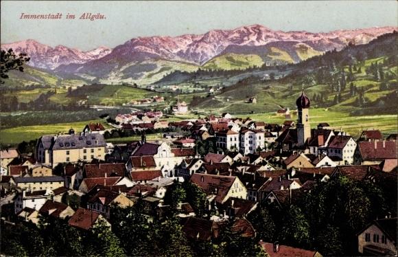 Ak Immenstadt im Allgäu Schwaben, Panorama von Ort und Umgebung