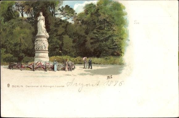 Litho Berlin Tiergarten, Denkmal der Königin Louise, Spaziergänger