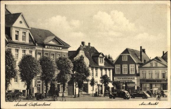 ak aurich in ostfriesland partie am markt deutsches haus schuhwaren landesamt apotheke nr. Black Bedroom Furniture Sets. Home Design Ideas