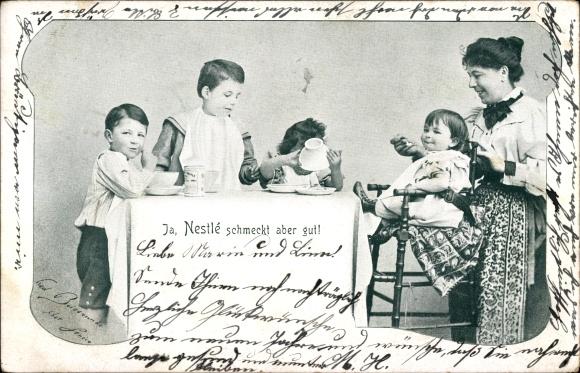 Ak Ja, Nestlé schmeckt aber gut, Kindernahrung, Mutter füttert ihre Kinder, Reklame