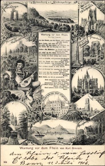 Passepartout Ak Königswinter Rhein Sieg Kreis, Gedicht von Karl Simrock, Ruine, Rolandsbogen, Burg