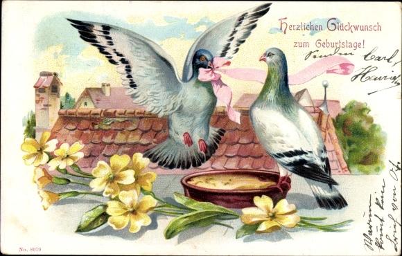 Präge Ak Glückwunsch Geburtstag, Zwei Tauben, Rosa Schleife, Gelbe Blumen