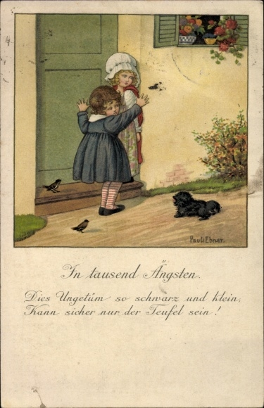 Künstler Litho Ebner, Pauli, In tausend Ängsten, Mädchen fürchten sich vor Schoßhund, Humor