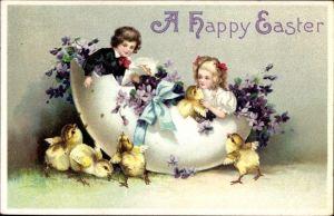 Präge Litho Glückwunsch Ostern, Kinder in einem Ei, Küken, Blumen