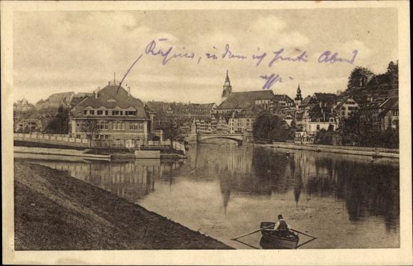 Ak Tübingen am Neckar Baden Württemberg, Flusspartie, Häuser, Ruderboot, Kirchturm