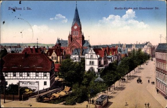 Ak Zwickau in Sachsen, Blick über die Glauchauer Straße auf die Moritzkirche, Großhandel Paul Apel