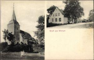 Ak Midlum Wurster Nordseeküste Landkreis Cuxhaven, Kirche, Straßenpartie im Ort