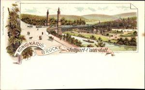 Litho Cannstatt Stuttgart in Baden Württemberg, Blick auf die König Karls Brücke