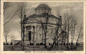 Ak Hansestadt Bremen, Blick auf das Krematorium, Rhiensberger Friedhof