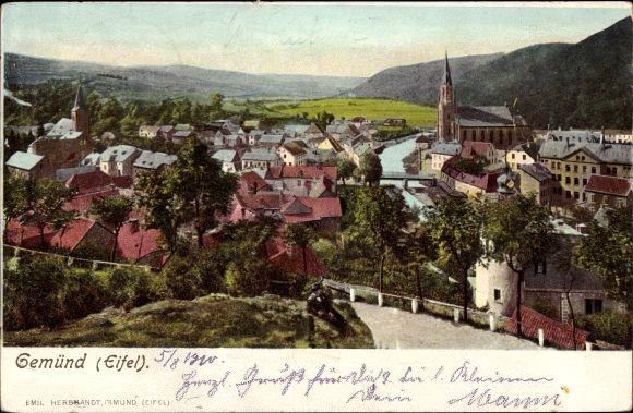 Ak Gemünd Schleiden in der Eifel, Gesamtansicht der Ortschaft mit Blick zur Kirche