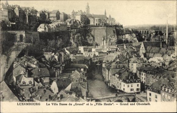 Ak Luxemburg, La Ville Basse du Grund et la Ville Haute, Grund und Oberstadt