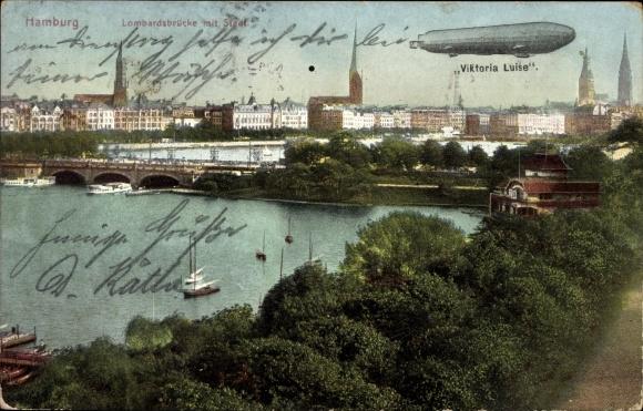Ak Hamburg Mitte, Lombardsbrücke mit Stadt, Zeppelin Viktoria Luise