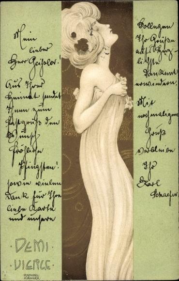Präge Jugendstil Litho Kirchner, Raphael, Demivierge, Halbjungfrau