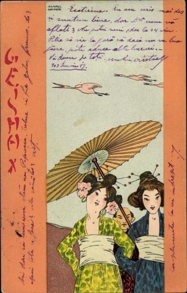 Jugendstil Litho Kirchner, Raphael, Geisha, Japanerinnen in Kimonos, Schirm, Kraniche