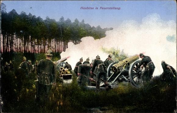 Ak Haubitze in Feuerstellung, Artillerie, Geschütz im Einsatz, I. WK