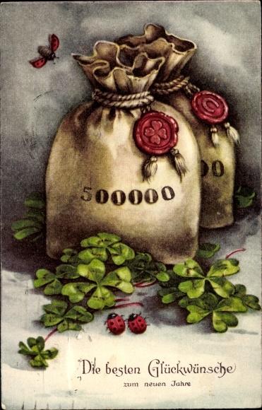 Ak Glückwunsch Neujahr, Geldsäcke, Kleeblätter, Marienkäfer